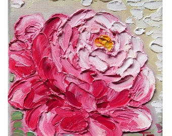 Pink Peony Original impasto oil painting No.04-40 ready to hang