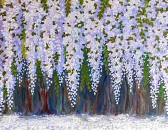 """Wisteria Trees Original acrylic impasto painting white blue flowers on STRETCHED CANVAS  size 24"""" X 30""""  No.04-19 ready to hang"""