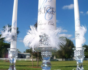 Great Gatsby Unity candle and holder set, Feather candles, Wedding candles, Unity Candle Set, Candle Holder, Wedding Decor, Wedding Gift,