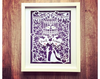 Handcut Wedding Gift Art - Mr & Mrs Wedding Gift - Handcut Papercut Artwork