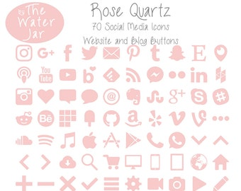 Pink Social Media Icons in Rose Quartz Finish.  Pink Rose Quartz Social Icons, Blog Icons, Website Buttons, Feminine