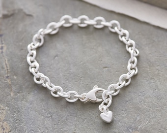 Mini Lifetime adjustable silver charm bracelet with heart charm - solid silver bracelet to fit all wrist sizes, handmade in Hove