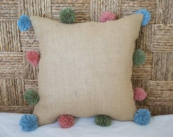 Multi Color Pom Pom Pillow