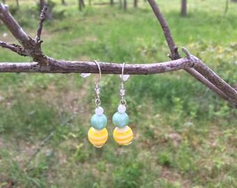 Honeydew Beaded earrings
