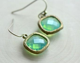 Aqua Opal Jewel Earrings - Antique Bronze Earring Hook and Frame - Green Opaline - Vintage Style - Dainty (AW019)