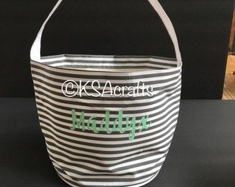 Sale! Personalized Easter Basket, Easter Bucket, Striped Easter Basket