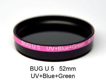 BUG U 5 Camera Filter 52mm, UV+Blue/Green Bandpass Mix, Ultraviolet Photography