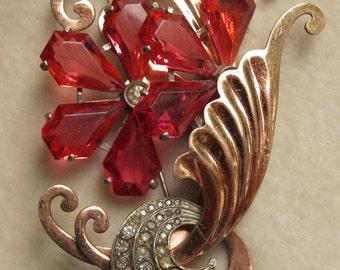 Huge Retro Rose gold colour brooch