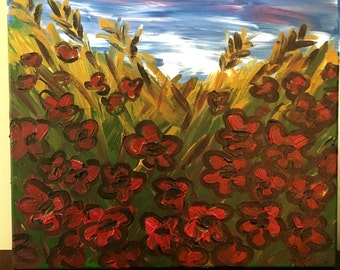 Poppies en field