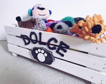 Personalized Pet Storage - Doggy Toy Box - Dog Toy Storage -Cat Toy Box -Wood Crate Storage -Toy Storage Box - Dog Toy Crate - Small Toy Box