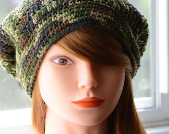 Slouchy Beanie- Army Green Camouflage, Crochet