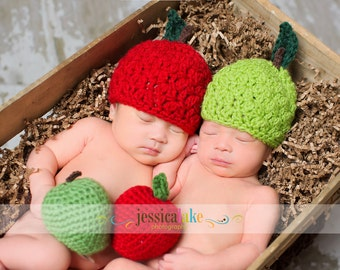 Baby Apple Hat and Mini Apple Set, MADE TO ORDER