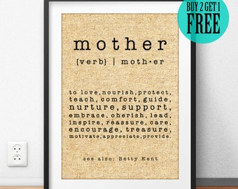 Mother's Day Gift, Mother Prints, Gift for Mon, Parents Gifts, Personalized, Housewarming, Burlap Print, Sign, Home Decor, Wall Art, CM43