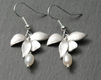Silver Orchid Earrings with Freshwater Pearls. Silver Flower Earrings. Silver Pearl Earrings.