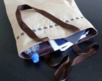Hedgehog tote bag. Brown carrier bag. Hedgehog book bag. Shopping bag. Reusable Shopping Bag. Brown book bag.