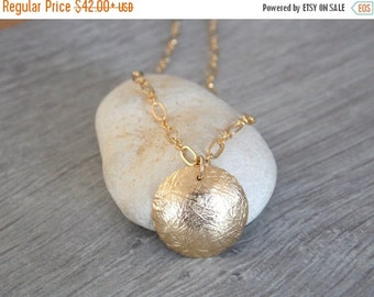 Sale Sale Sale Round textured charm - unique gold filled necklace - textured metal charm - gold filled necklace - gift for her