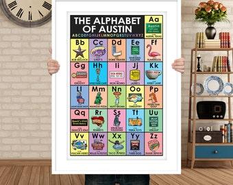 Austin Texas Alphabet - Featuring Austin Signs and Landmarks - Texas Art, Made in Texas, Austin Gift Shop, South Congress Gift store, Austin