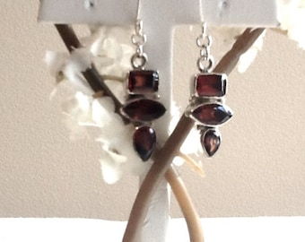 Bezel set garnet gemstone earrings