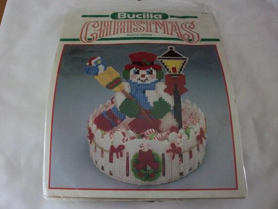 Bucilla snowman centerpiece candy dish kit new plastic