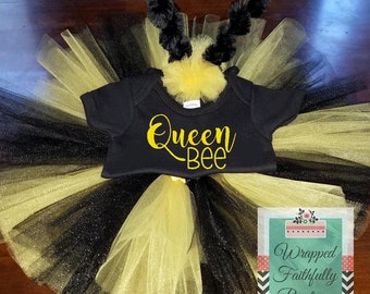 Three Piece Bee Inspired Tutu Outfit-Queen Bee Tutu Set-Triple Layer Tutu