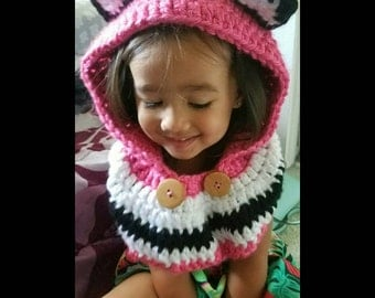 Crocheted scarf hoodie SCOODIE with ears for infants to toddlers