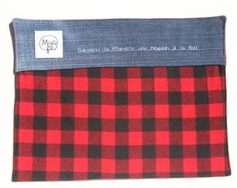 Backpack 3 in 1 pattern lumberjack - napkin, doily lunch carrier utensils, catch all zero waste - zero waste tool