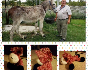Custom Crocheted Donkey, Amigurumi Stuffed Donkey, Crocheted Stuffed Donkey, Handmade Stuffed Animal