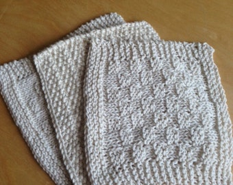 Set of 3 Handmade Knitted Dish Cloth, Knitted Washcloth, Knitted Dishcloth, 100% Cotton, cream