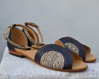 Handmade Flat Leather Sandals - Farfalle