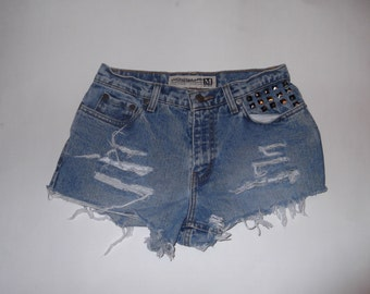 """Maurices Studded Upcycled Destroyed Jean Shorts 28"""" Waist"""