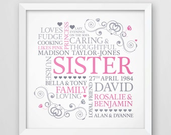 Sister word art, sister print, personalised gift, gift for sister