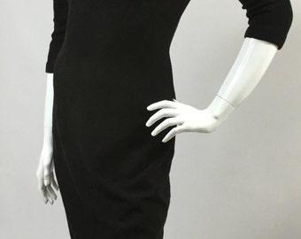 Fabulous Original Vintage 1950s Black Dress Kenetta Wool Wiggle LBD 10