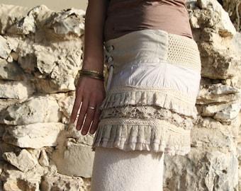 Short Festival Pixie Tribal Gypsy Style Layered Lace Mini Midi Skirt