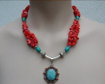 Red coral, tibetian turquoise, filigrane sterling silver necklace with pendant
