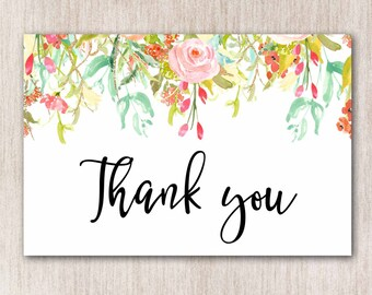 Thank You Printable, Baby Shower Thank You Card, Thank You Card, Thank You DIY, Thank You Print, Thank You Note, Floral Thank You Card