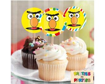 50% OFF - Bert Sesame Street cupcake toppers, Bert Sesame Street Birthday party supplies, Bert cupcakes, Bert label, Bert labels