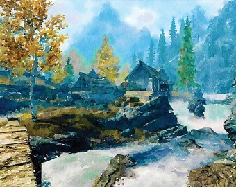 Watercolor art, home decor, Skyrim  game art poster, video game art, video game poster, video game decor, elder scrolls  Christmas present