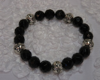 Black Faceted Onyx Bracelet with Silver Filigree Beads