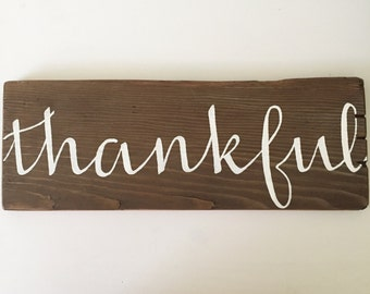 """Rustic """"Thankful"""" Wood Sign, Thankful Pallet Sign, Thanksgiving Decor, Thanksgiving Decor, Rustic Fall Decor, Farmhouse Decor, Ready to Ship"""