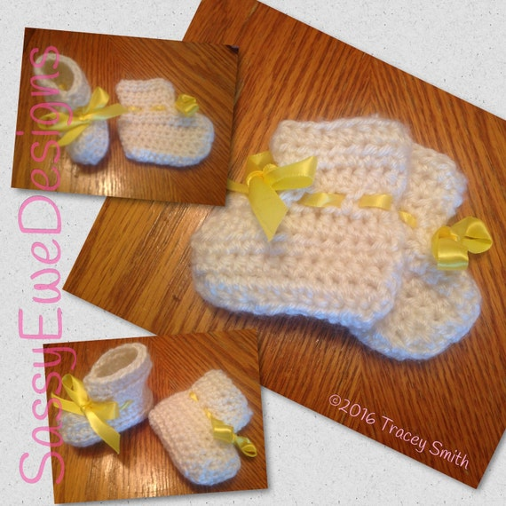 Baby booties Crochet Baby Booties Baby by SassyEweHeirlooms