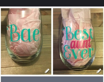 Aunt Wine Glass | Best Aunt Ever | Bae