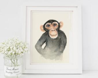 Watercolor Monkey Painting | Watercolor Monkey Print | Monkey Art | Monkey Nursery Decor | Watercolor Safari Animal Nursery Art |