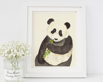 Panda Watercolor Painting Print 8x10 Zoo Animal Nursery Decor
