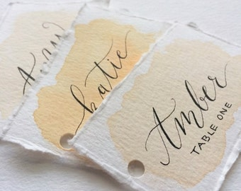 Watercolor Calligraphy Place Cards | Watercolor Escort Cards | Deckle Edge Place Cards | Watercolor Calligraphy Wedding Name Tags