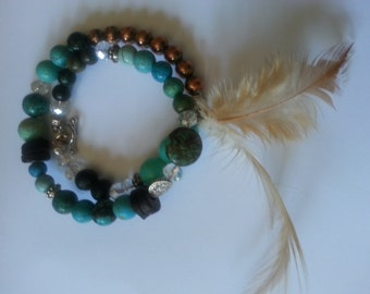 Bohemian Bead Bracelet with Feather