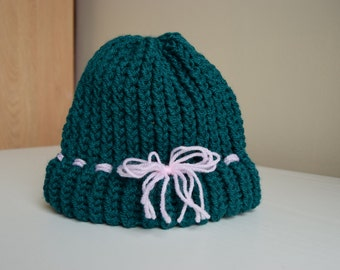Children/Toddler Hat Teal with pink bow and brim, child knit hat, knitted children hat, kid winter hat, winter beanie, knit hat