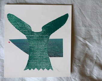 Blue whale cardboard impression prints - various collage images