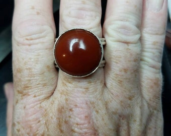 Sterling silver and red carnelian statement ring