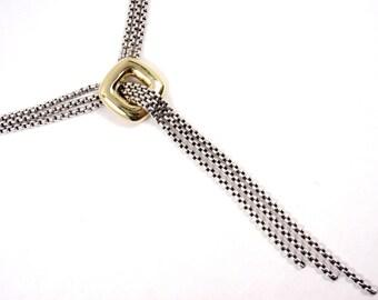 "DAVID YURMAN Sterling 18K Gold Cushion 3 Strand Lariat Box Chain Necklace 16"""