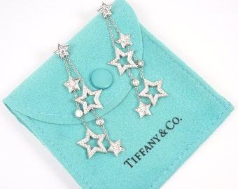 Tiffany & Co Stars Platinum PT950 Diamond 1.33ct Multi-Drop Dangle Earrings